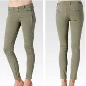 PAIGE marley moto skinny jeans fatigue green 28